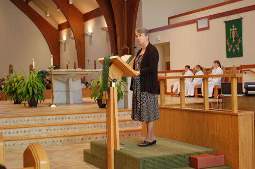 Debbie Miller speaking at St. Alphonsus