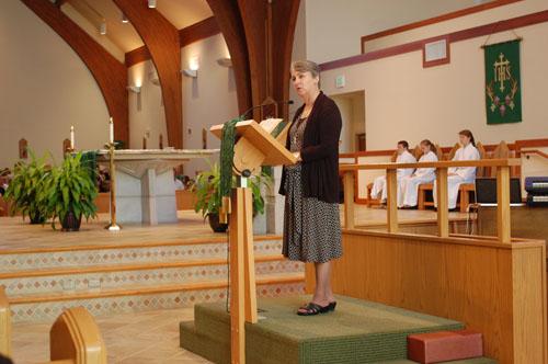 Debbie Miller speaking at St. Alphonsus